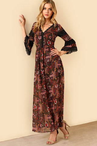 GATHERED SLEEVE WIDE WAISTBAND DITSY KIMONO DRESS