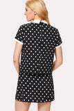 CONTRAST COLLAR POLKA DOT TOP & SKIRT SET