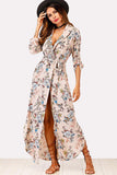 BOTANICAL PRINT SHAWL COLLAR DRESS