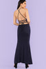 SPLIT FRONT CRISSCROSS BACK HALTER MAXI DRESS