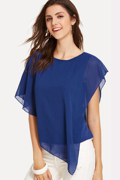 BATWING SLEEVE SOLID BLOUSE