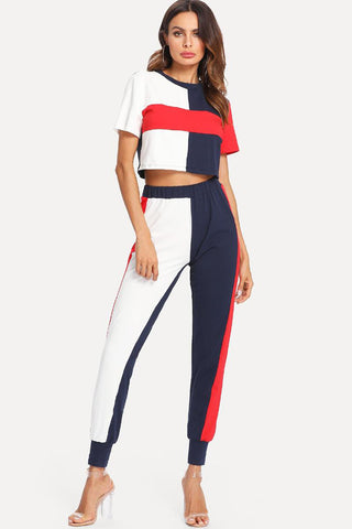 TASSEL HEM CROP TOP AND FLARE PANTS SET