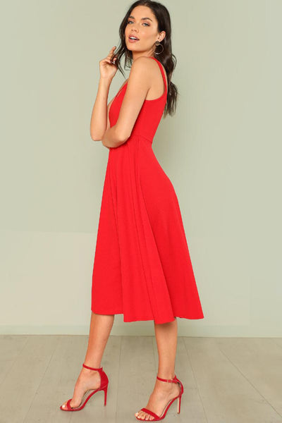 SCOOP NECK SOLID FLARE CAMI DRESS