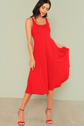 RUFFLE TRIM SCOOP NECK WIDE LEG JUMPSUIT
