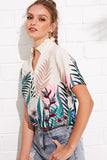 FRILLED COLLAR HALF PLACKET TROPICAL TOP