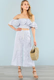 LAYERED FLOUNCE TRIM BARDOT TOP AND WIDE LEG PANTS