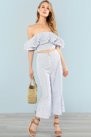 LAYERED RUFFLE TRIM COLD SHOULDER JUMPSUIT