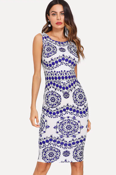 PORCELAIN PRINT PENCIL DRESS
