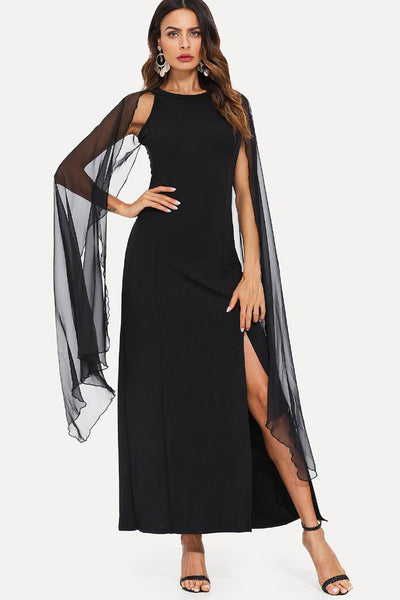 SHEER MESH PANEL SPLIT DRESS