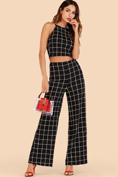 GRID PRINT HALTER TOP WITH WIDE LEG PANTS