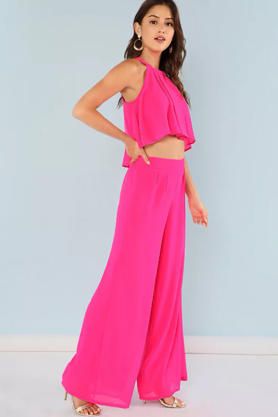 PLEATED KEYHOLE BACK TOP WITH MATCHING PALAZZO PANTS