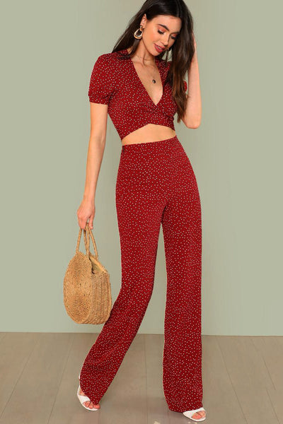 POLKA DOT CROP TOP AND PANTS SET