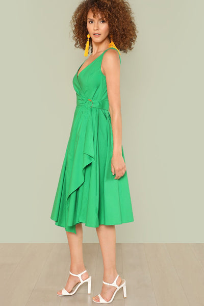 O-RING BELTED OVERLAP SURPLICE DRESS