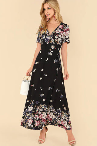 FLORAL APPLIQUE PLEATED DRESS