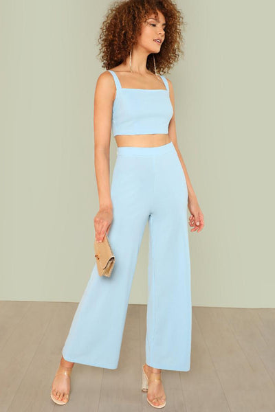 MINT BLUE CROP TOP AND PALAZZO PANTS SET