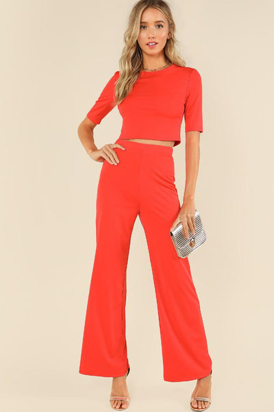 CROP PLAIN TOP AND WIDE LEG PANTS CO-ORD