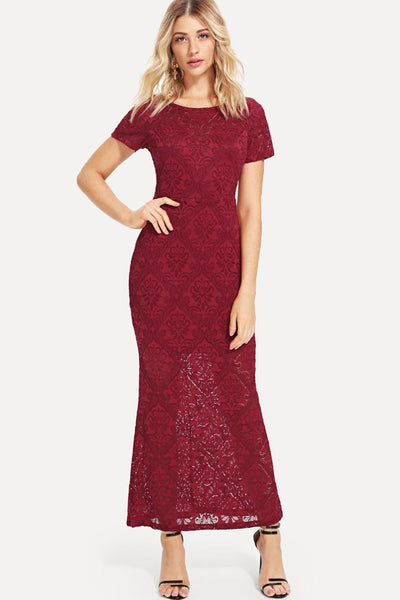 V-BACK FLORAL LACE DRESS