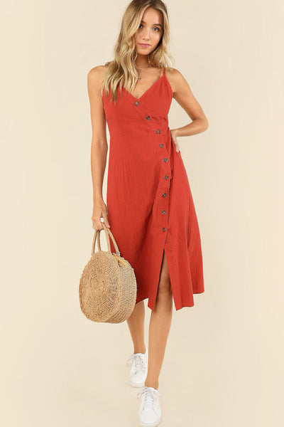 BUTTONED WRAP FRONT CAMI DRESS