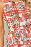 BELTED FLORAL AND PLAID SHELL TOP