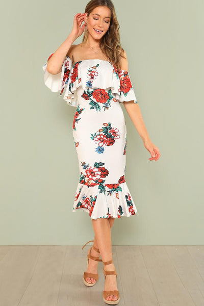 FLOUNCE LAYERED NECK FLORAL DRESS