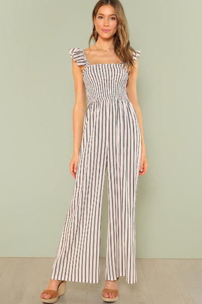 SHIRRED PANEL WIDE LEG STRIPED JUMPSUIT