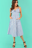 BUTTON UP FRILL TRIM POCKET PLAID DRESS