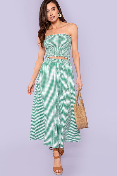PLAID PRINT SMOCKED CAMI TOP & SKIRT CO-ORD