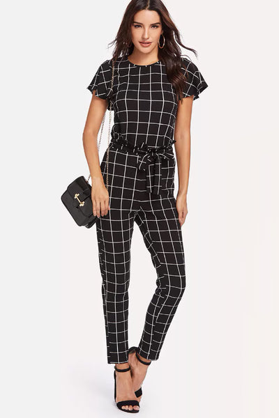 FLUTTER SLEEVE KNOT HEM GRID TOP AND PANTS SET