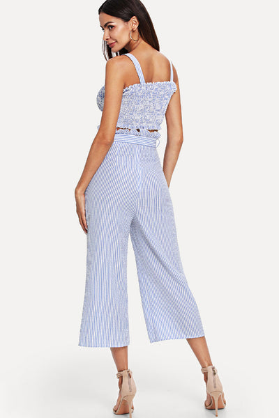 f88565ad45 SHIRRED STRIPED TOP   BELTED CULOTTE PANTS SET – Rare Collect