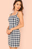 THICK STRAP BUTTON DETAIL GINGHAM DRESS