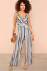 SELF BELTED SURPLICE NECK WIDE LEG CAMI JUMPSUIT