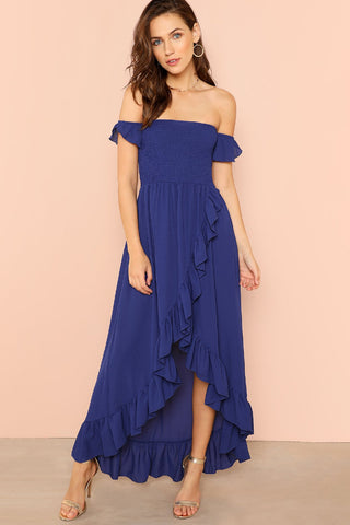 LACE BODICE PLEATED PANEL DRESS