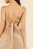 KNOT OPEN BACK BUTTON DETAIL JUMPSUIT