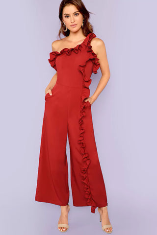THICK STRAP SOLID WIDE LEG JUMPSUIT