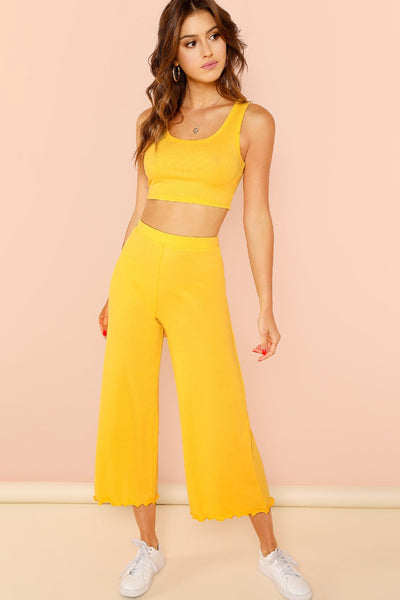 LETTUCE TRIM CROP RIB KNIT TOP AND PANTS SET