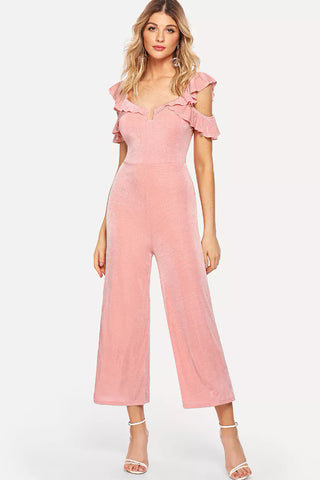 GATHERED SLEEVE WRAP JUMPSUIT