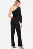 ONE SHOULDER SPLIT SLEEVE BELTED JUMPSUIT