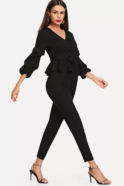 BELTED BISHOP SLEEVE WRAP TOP AND PANTS SET