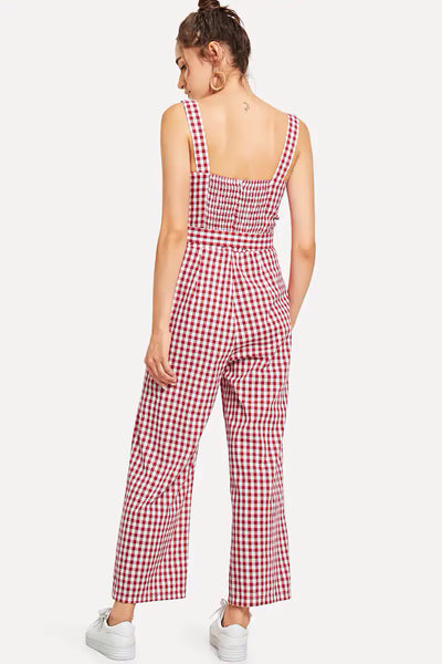 OPEN BACK BOW TIE WAIST PLAID JUMPSUIT