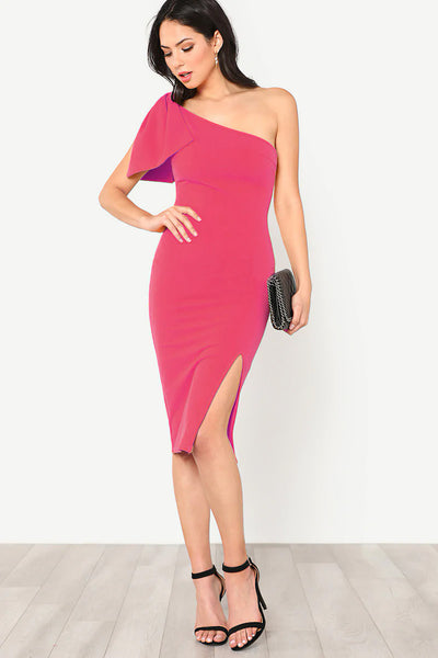 EXAGGERATE BOW DETAIL ONE SHOULDER DRESS