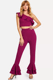 ASYMMETRICAL NECK CROP TOP AND FLARE LEG PANTS SET