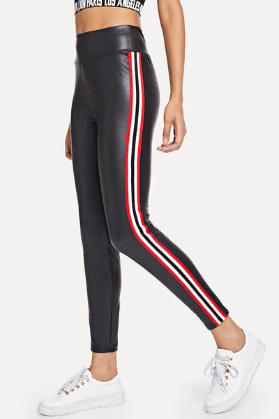 WIDE WAISTBAND STRIPED SIDE LEGGINGS
