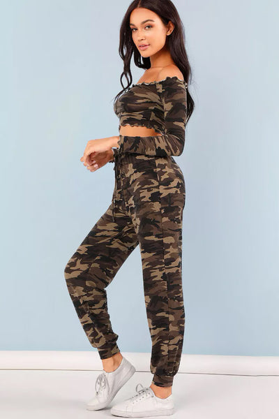 FRILL TRIM CAMO PRINT CROP TOP & DRAWSTRING WAIST PANTS SET