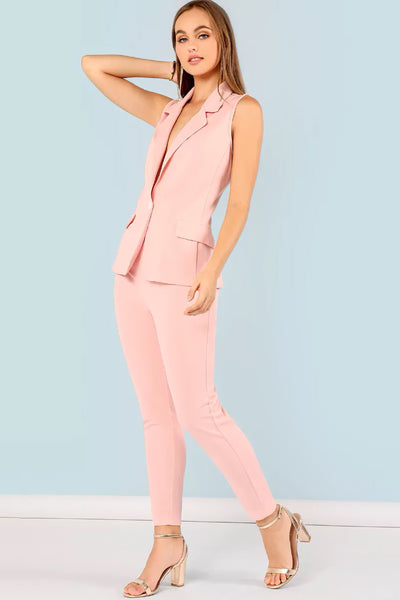 BUTTON FRONT COLLAR TOP AND PANTS SET