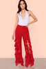 HIGH SPLIT FRONT RUFFLE PANTS