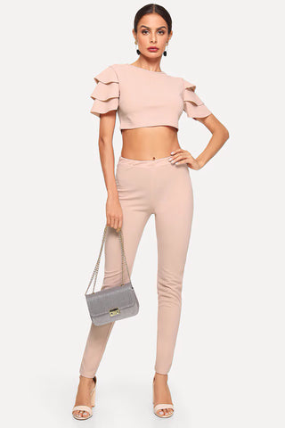 FLOUNCE SLEEVE CROP TOP AND RUFFLE HEM SKIRT SET