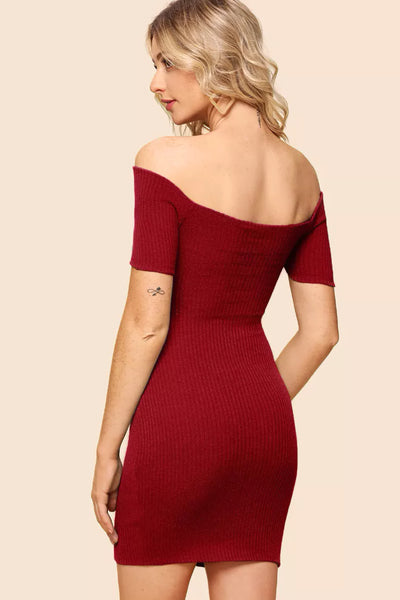 CROSS WRAP RIB KNIT DRESS