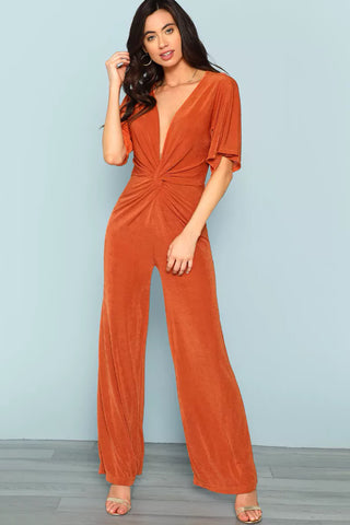 ZIP HALF PLACKET DRAWSTRING WAIST JUMPSUIT