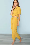 BUTTON AND POCKET FRONT COLLAR NECK TOP AND PANTS SET