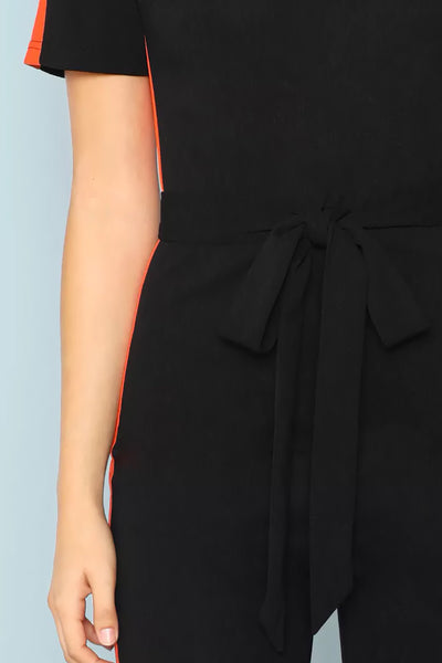 CONTRAST TAPE SIDE PLUNGING NECK JUMPSUIT